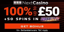 Next Casino UK Sign Up Spins Bonus